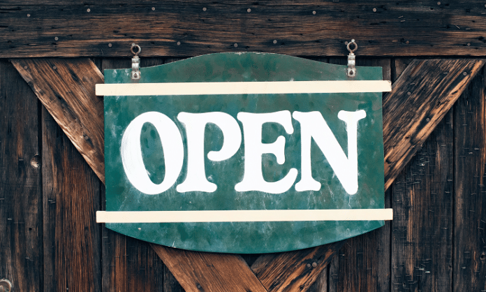 wooden open sign